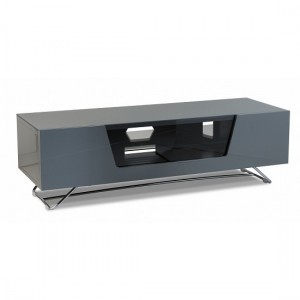 Chromium Medium Wooden TV Stand In Grey With Chrome Base