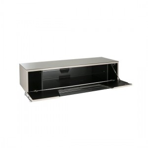 Chromium Medium Wooden TV Stand In Ivory With Chrome Base