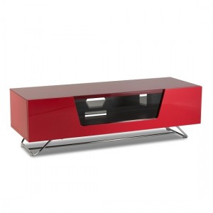 Chromium Medium Wooden TV Stand In Red With Chrome Base