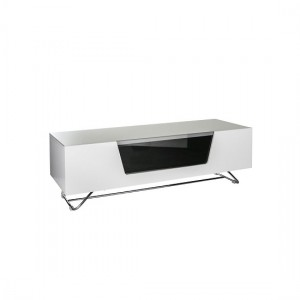 Chromium Medium Wooden TV Stand In White With Chrome Base