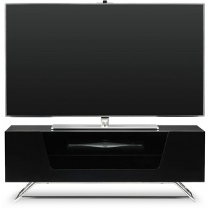 Chromium Wooden TV Stand In Black With Chrome Base