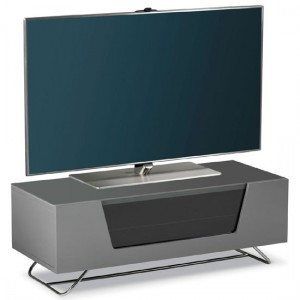 Chromium Wooden TV Stand In Grey With Chrome Base