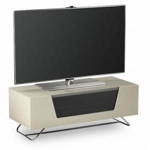 Chromium Wooden TV Stand In Ivory With Chrome Base