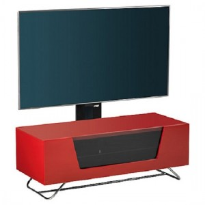 Chromium Wooden TV Stand In Red With Chrome Base