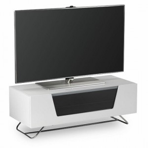 Chromium Wooden TV Stand In White With Chrome Base