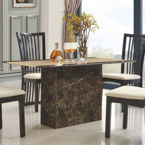 Cincinnatti Marble Dining Table In Natural Stone And Lacquer