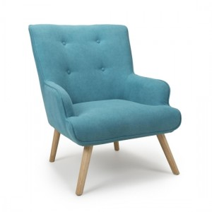 Cinema Chenille Effect Armchair In Turquoise Blue