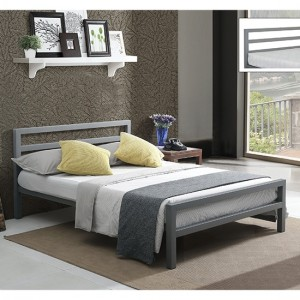 City Block Metal King Size Bed In Grey