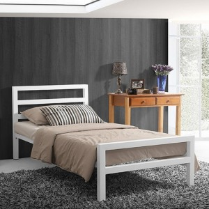 City Block Metal Single Bed In White