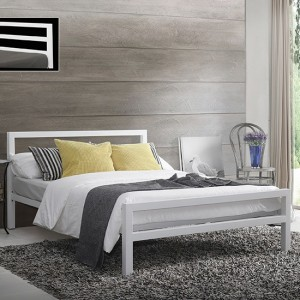 City Block Metal Small Double Bed In White