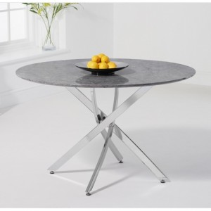 Clara Round Marble Dining Table In Grey High Gloss