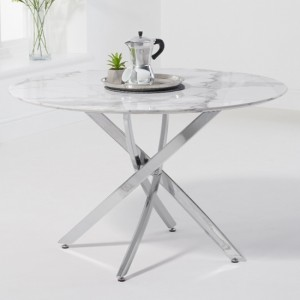Clara Round Marble Dining Table In White High Gloss