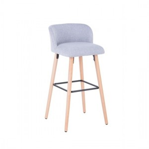 Claremont Fabric Bar Stool In Grey With Wooden Legs