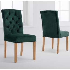 Clarissa Green Velvet Dining Chairs In Pair With Oak Legs