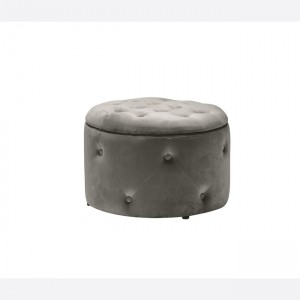 Barkley Fabric Storage Footstool Round In Charcoal Fabric