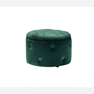 Barkley Fabric Storage Footstool Round In Teal Fabric