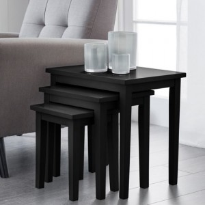 Cleo Wooden Nest Of Tables In Black