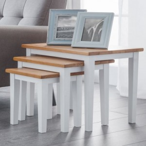 Cleo Wooden Nest of Tables In Oak And White