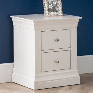 Clermont Wooden 2 Drawers Bedside Cabinet In White