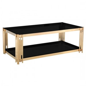 Cleveland Black Glass Coffee Table With Golden Metal Base