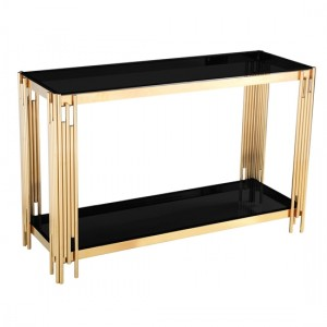Cleveland Black Glass Console Table With Gold Legs