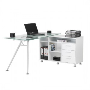 Cleveland Corner Frosted Glass Computer Desk With Satin Legs