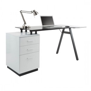 Cleveland Glass Computer Desk With Grey Frame