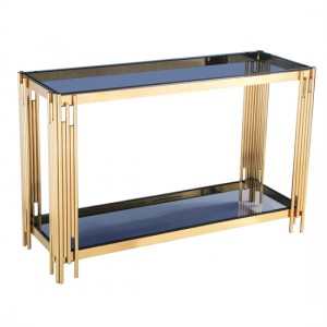 Cleveland Grey Glass Console Table With Gold Legs