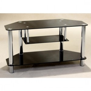 Clio Corner Black Glass TV Stand With Chrome Stands