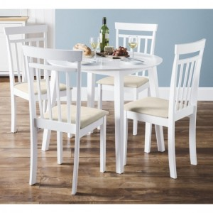 Coast Round Wooden Dining Table In White With 4 Chairs