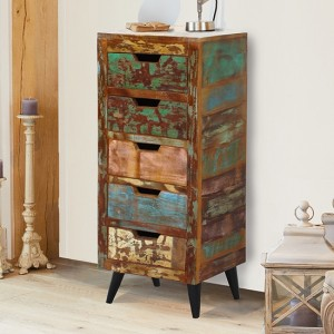 Coastal Chic Wooden Chest Of Drawers In Reclaimed Wood