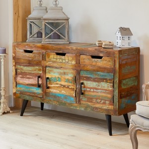 Coastal Chic Wooden Large Sideboard In Reclaimed Wood