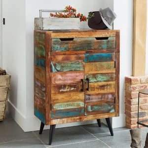 Coastal Chic Wooden Shoe Storage Cabinet In Reclaimed Wood