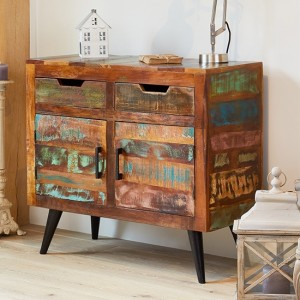 Coastal Chic Wooden Small Sideboard In Reclaimed Wood