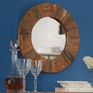 Coastal Large Round Wall Mirror In Reclaimed Wood Wooden Frame