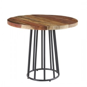 Coastal Round Wooden Dining Table In Reclaimed Wood