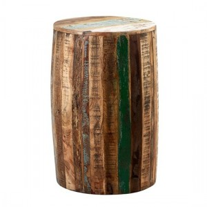 Coastal Wooden Drum Stool In Vintage Oak