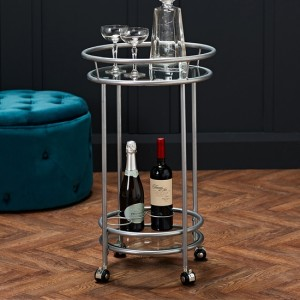 Collins Clear Glass Shelves Drinks Trolley In Silver