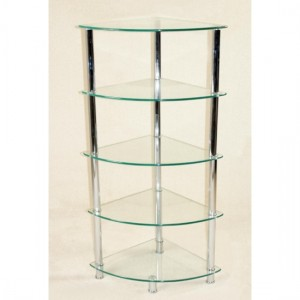 Cologne Corner Glass 5 Tier Shelving Unit In Clear