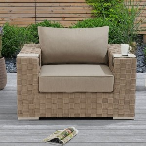Columbine Wicker Garden Armchair In Taupe And Brown