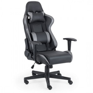 Comet Faux Leather Gaming Chair In Black And Grey