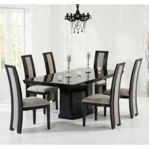 Como 160cm Black Marble Rectangular Dining Table With 6 Rivilino Black Chairs