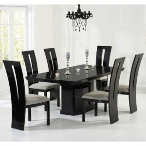 Como 160cm Black Marble Rectangular Dining Table With 6 Valencie Black Chairs