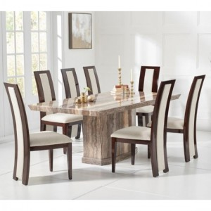 Como 160cm Brown Marble Rectangular Dining Table With 6 Rivilino Brown Chairs