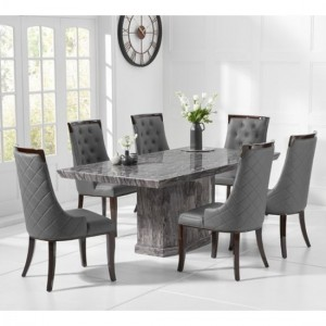 Como 200cm Grey Marble Rectangular Dining Table With 6 Fredo Grey Chairs