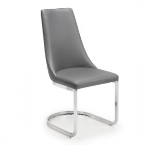 Como Cantelever Faux Leather Dining Chair In Grey