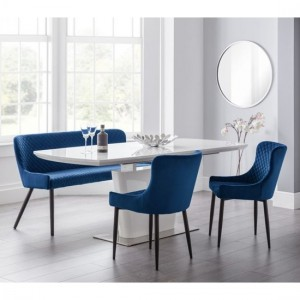 Como Extending Dining Set In White Gloss With Luxe Bench And 2 Blue Chairs