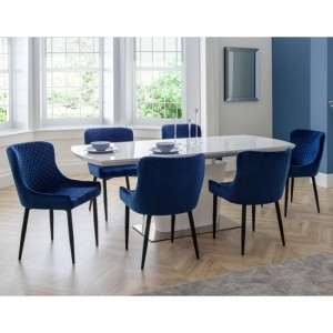 Como Extending White Gloss Dining Table With 6 Luxe Blue Chairs