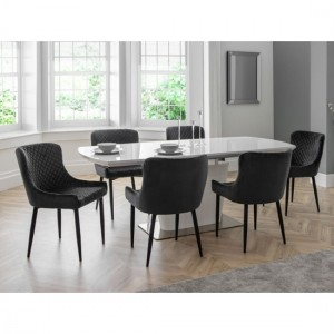Como Extending White Gloss Dining Table With 6 Luxe Grey Chairs
