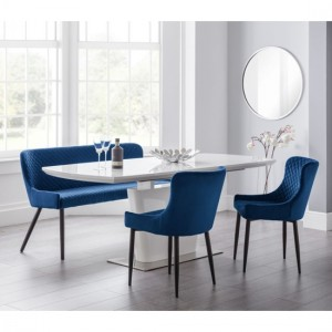 Como Extending White Gloss Dining Table With Luxe Blue Bench And 2 Chairs